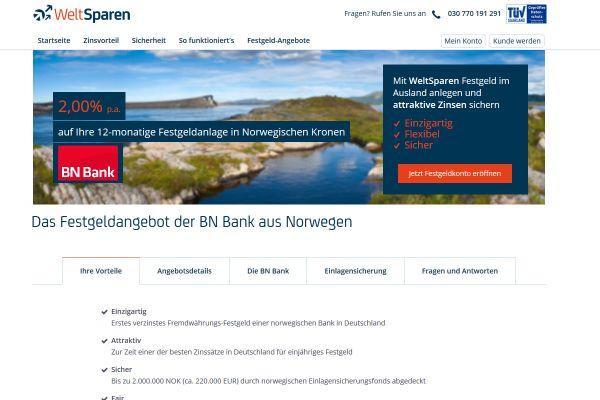 BN Bank Festgeld