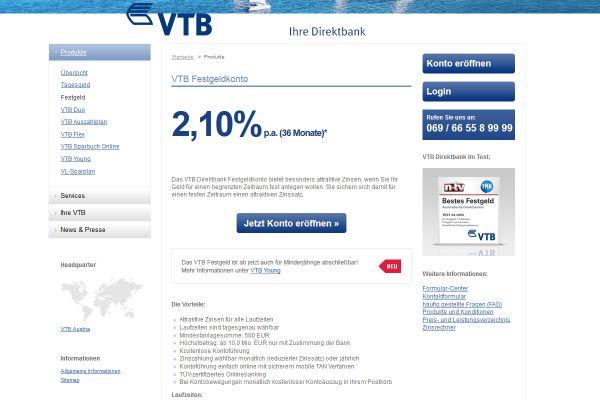 VTB Direktbank Festgeld